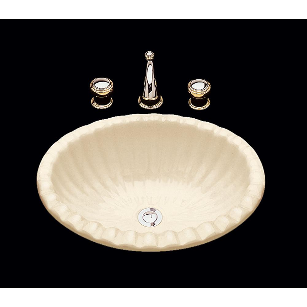 Wb Julie Double Glazed Fluted Oval Lavatory Shell Pattern Overflow Drop In Only