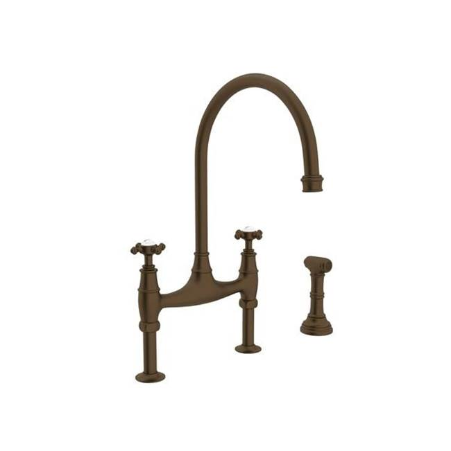 Franke FF6060a Two-Handle Bridge-Style Kitchen Faucet with Traditional Handles and Side Spray Old World Bronze